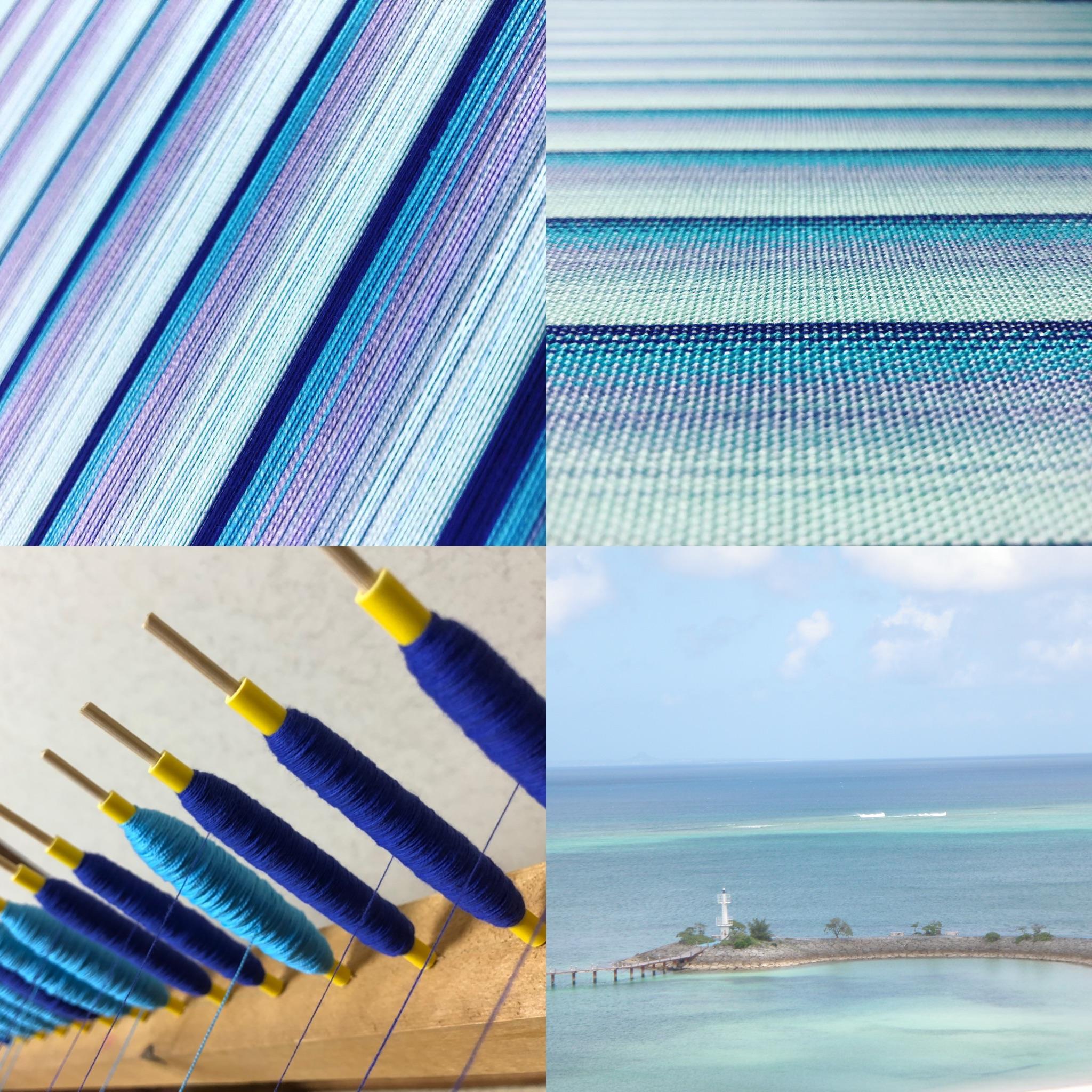 風景を手織物の縞模様にデザイン